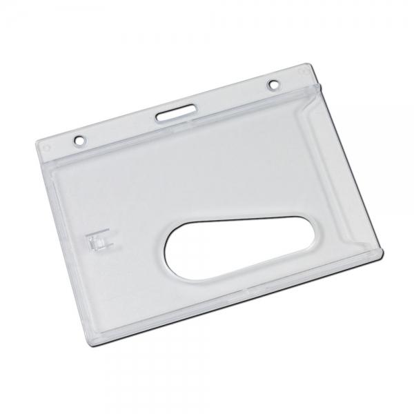 Porta identificador de plástico duro, para lanyards.